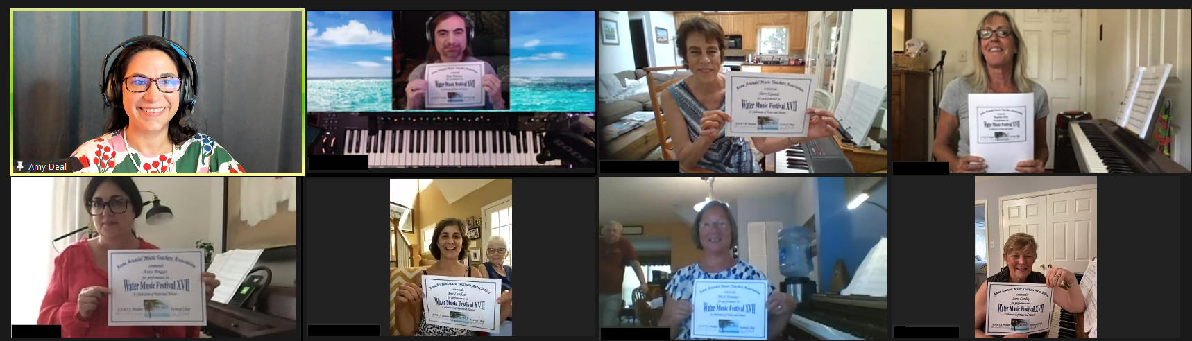 Eight adult in Zoom Meeting holding certificate